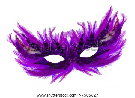 Fancy festive purple feathers dress mask isolated on white background - stock photo