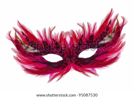 Fancy Festive purple / pink / red Feathers with Sequin dress mask isolated on white background - stock photo