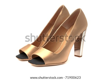 Fancy high heel beige woman shoes white isolated