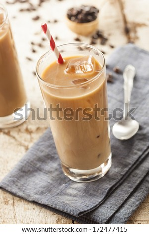 Fancy Iced Coffee with Cream in a Glass