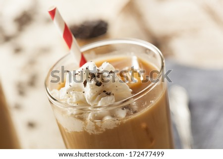 Fancy Iced Coffee with Cream in a Glass - stock photo