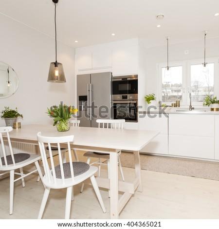 fancy kitchen interior - stock photo