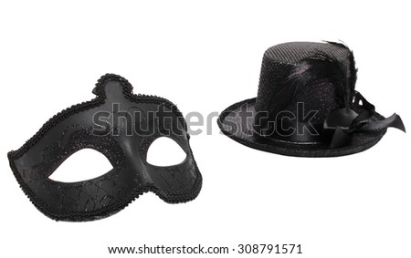 Fancy mask and hat - stock photo