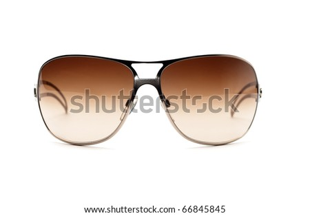 Fancy metal sunglasses isolated on white