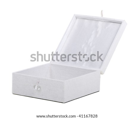 fancy open ornamental  wooden box over white background