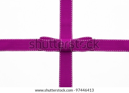 Fancy pink ribbon gift bow with white stitching on white background