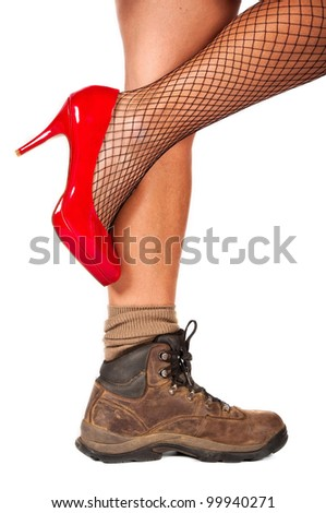 Fancy, red, high hill shoe in contrast with old, brown walking shoe - stock photo
