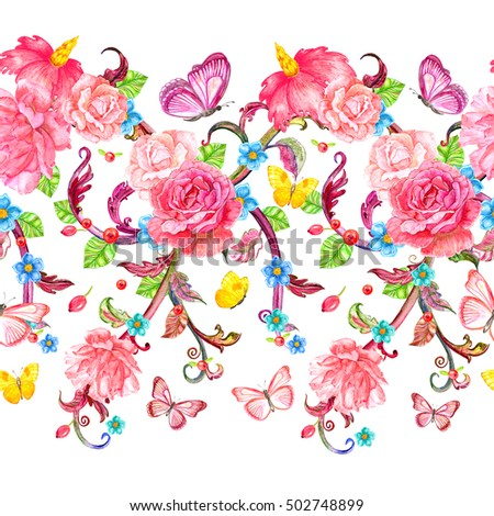 fancy seamless border with roses and butterflies. watercolor painting