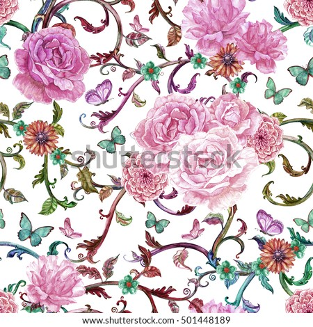 fancy seamless texture with baroque floral scroll filigree of watercolor