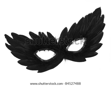 Fancy Vintage Festive Black Feathers with Sequin dress mask isolated on white background - stock photo