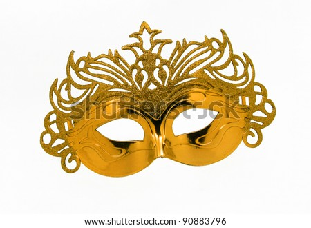Fancy Vintage Festive Gold Glitter dress mask isolated on white background