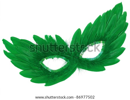 Fancy Vintage Festive Green Feathers with Sequin dress mask isolated on white background - stock photo