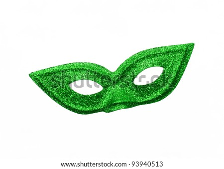 Fancy Vintage Festive Green Glitter dress mask isolated on white background - stock photo