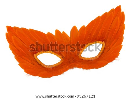 Fancy Vintage Festive Orange Feathers with Sequin dress mask isolated on white background - stock photo