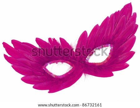 Fancy Vintage Festive Purple / Pink Feathers with Sequin dress mask isolated on white background - stock photo