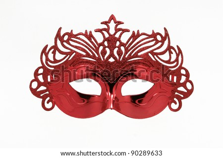 Fancy Vintage Festive Red Glitter dress mask isolated on white background - stock photo