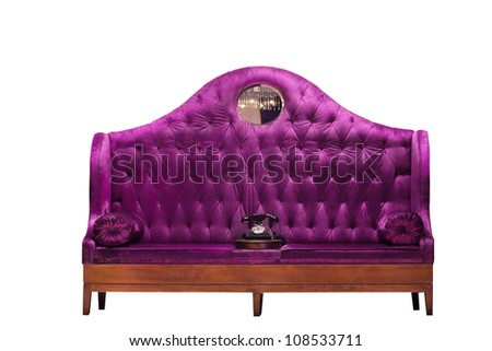 Fancy vintage style button tufted settee loveseat - stock photo