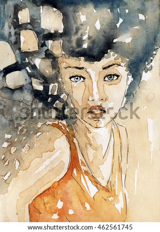 fancy watercolor illustration, portrait woman