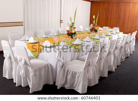 Fancy wedding reception area in the hotel - stock photo