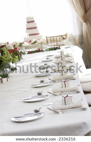 Fancy wedding table set for fine dining, shallow depth of field. - stock photo