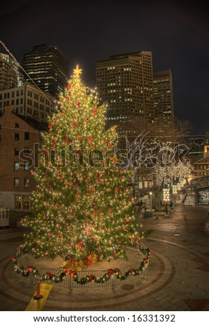 Faneuil Hall Christmas Tree - The annual Christmas Tree placed prominently in the center of Boston's Faneuil Hall.