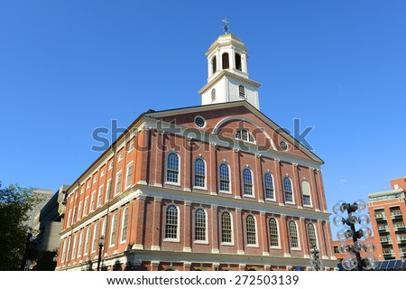 Faneuil Hall on Freedom Trail, Boston, Massachusetts, USA - stock photo