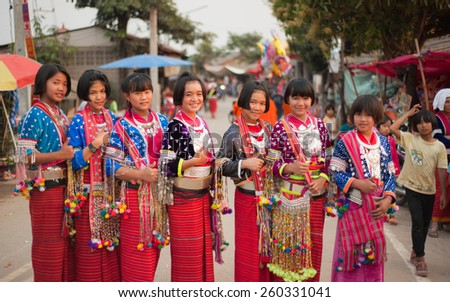 FANG,CHIANGMAI,THAILAND - MARCH 3, 2015: Unidentified Palaung kids in the Palaung traditional costume poses for the camera. Palaung people is a minority ethnic group living in northern Thailand - stock photo