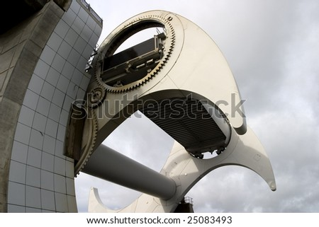 Fangs of the Falkirk Wheel, which elevates tourist barges to a higher level on the Union Canal, replacing eleven of the original locks. - stock photo