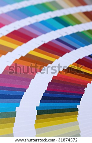 Fanned array of brilliant color swatches 2 - stock photo