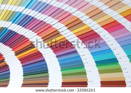 Fanned array of color swatches 1 - stock photo