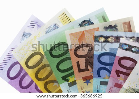 Fanned euro notes on white background