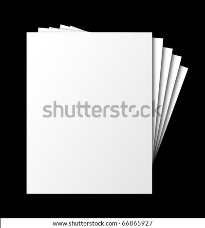 Fanned, stacked blank papers, isolated with shadow and clipping path - stock photo