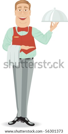 Fanny waiter bring some food. Isolated on white. - stock photo