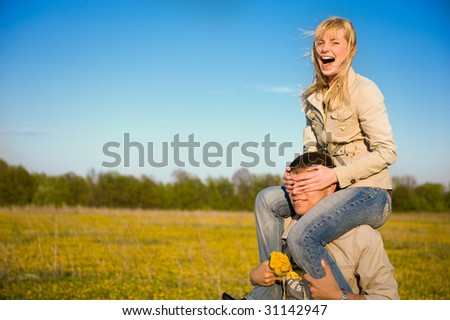 Fanny young couple in love - stock photo