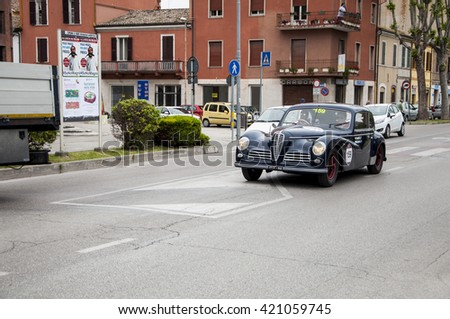 FANO, ITALY - MAY 16: Alfa Romeo 6C 2500 Freccia Oro old racing car in rally Mille Miglia 201 4 the famous italian historical race (1927-1957) on May 2014