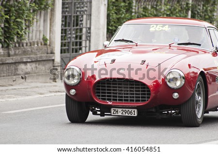 FANO, ITALY - MAY 16: Ferrari 250 MM berlinetta Pinin Farina old racing car in rally Mille Miglia 2014 the famous italian historical race (1927-1957) on May 16, 2014