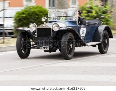 FANO, ITALY - MAY 16:Lancia Lambda serie VII  old racing car in rally Mille Miglia 2014 the famous italian historical race (1927-1957) on May 16, 2014