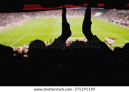 fans cheering soccer game  - stock photo
