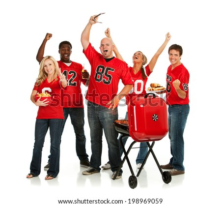 Fans: Group Of Tailgating Football Fans Cheering - stock photo