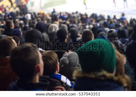 fans in the stadium supporting the team in the winter
