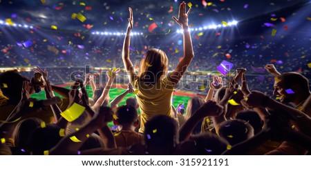 Fans on stadium game  panorama view - stock photo