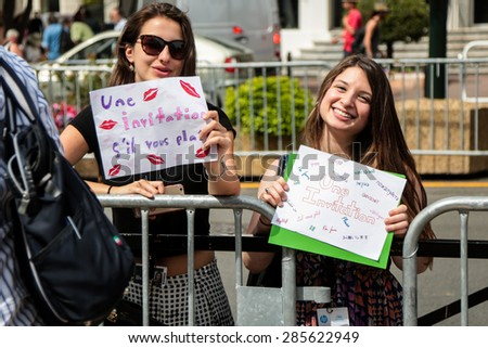 Fans. Opening Ceremony 'La Tete Haute' Premiere. 68th Annual Cannes Film Festival at Palais des Festivals on May 13, 2015 in Cannes, France. - stock photo