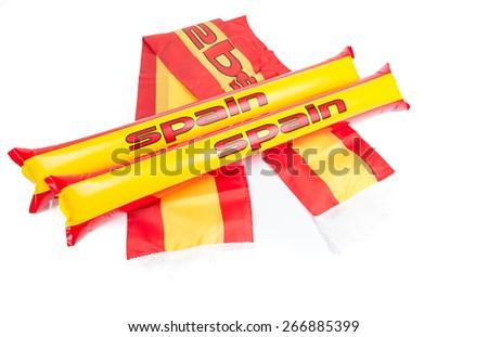 Fans Thundersticks and scarf - Spain Football - stock photo