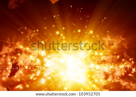 Fantastic abstract background- big explosion in sky - stock photo