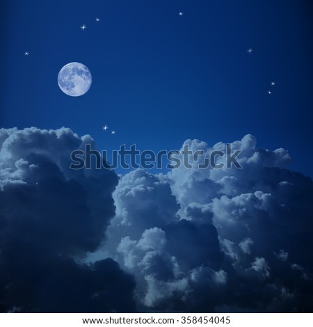 Fantastic Aerial view of Night Sky - Clouds, Stars and the Moon, background with copy space  - stock photo