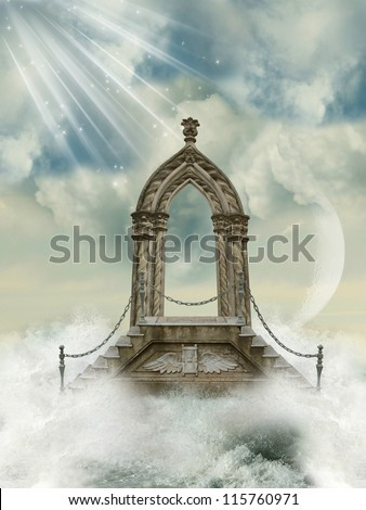 Fantastic arch with stairway in the sea - stock photo