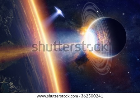Fantastic background - aliens planet and ufo hits planet Earth, aliens invasion, space extraterrestrial weapon. Elements of this image furnished by NASA nasa.gov - stock photo