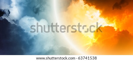 Fantastic background - bright light from clouds - stock photo