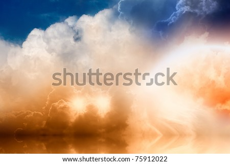 Fantastic background - bright rainbow and two stars in cloudy sky with reflection in ocean - stock photo