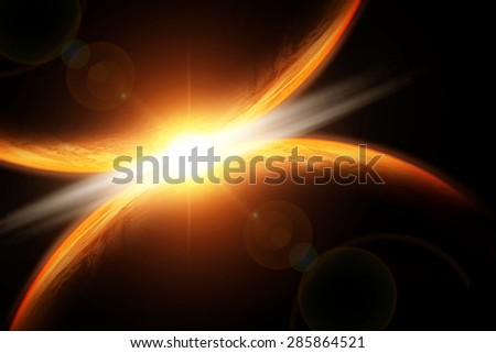 fantastic background - burning and exploding planet Earth, hell, asteroid impact, glowing horizon. Elements of this image furnished by NASA - stock photo
